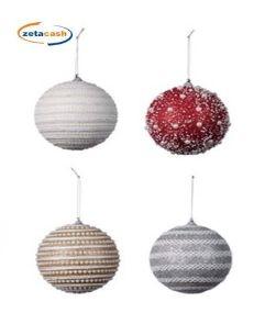 Decorazioni Natalizie Con Il Polistirolo.Sfere Di Natale In Polistirolo Con Decorazioni Diam 12 Cm