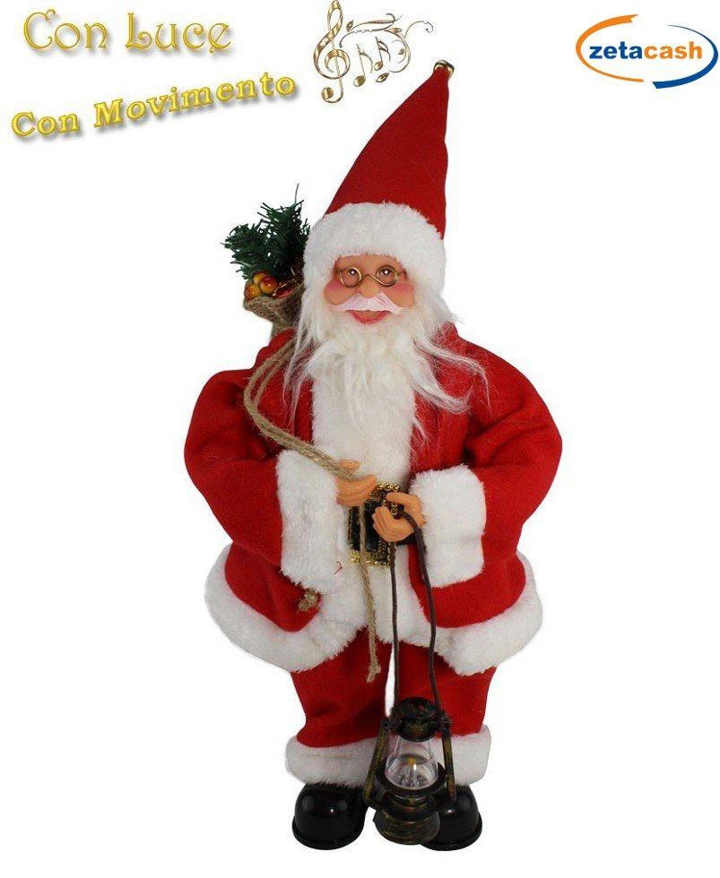 Babbo Natale Musicale.Babbo Natale Musicale Movimento E Luce H 37 Cm